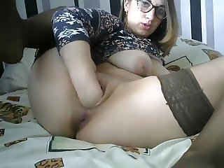 Beautiful Girl With Glasses Easily Fist Her Pussy