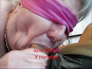 Blindfolded granny sucks close-up