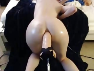Slut Teen Massive Anal Machine Dildo in Her Ass