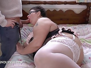 Hot Granny fucks two men