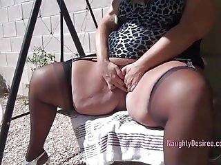 Desiree Pissing outdoors next to her pool