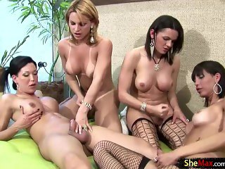 After proper anal drilling these four shedolls squirt jizz