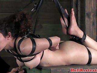 Heeled bdsm sub suspended and dominated