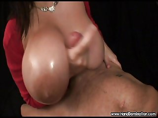 enormous natural breasts engulf handjob cock