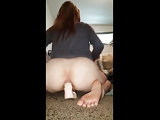 Young Single Mother Rides Dildo