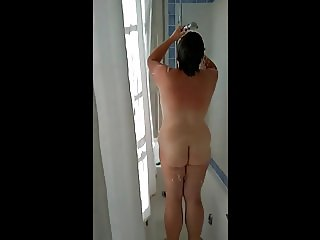 Voyeur of mature Brit wife in shower