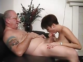 Young babe gives dirty old man Blowjob