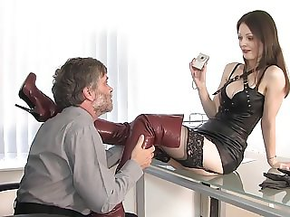Lady with brown leather overknees 01 - Office