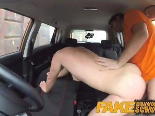 Fake Driving School Messy creampie climax for sexy cheating learner