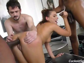 Adriana Chechnik Interracial Cuckold, husband watch and eat black cum