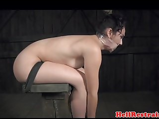 Dominated sub suspended in swing by maledom