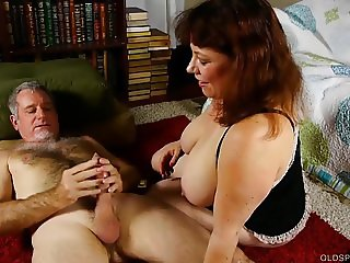 Cute chubby old spunker loves cum all over her nice big tits