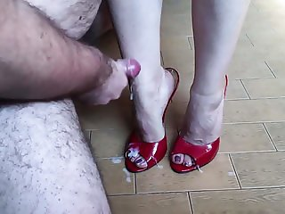 Cum on Red High Heels Mules 15 cm and Wife Sexy Feet