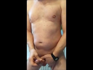 jerking my bondage dick in the batrhoom with great cumshot