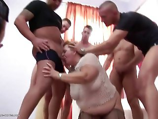 Insane pissing and anal actions with chubby matures