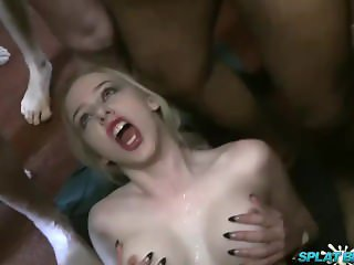 Grace Harper takes facials in a bukkake party