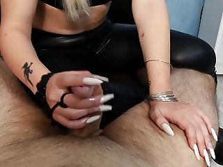 LATEX GIRL WITH LONG NAILS GIVES HANDJOB TO LUCKY GUY
