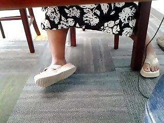 Candid mature bbw feet in library