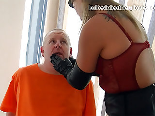 Smoking leather clad blonde Mistress in gloves and boots fet