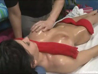 Rebecca Linares oiled and fucked hard on the massage table