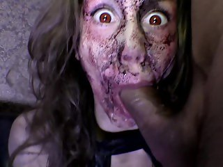 Mia's zombie nightmare. Zombie dick ass to throat attack on Halloween