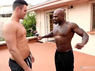 Muscular Trainer hit on by Hungry White Bottom