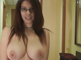 Horny spanish young lady with juicy natural melons