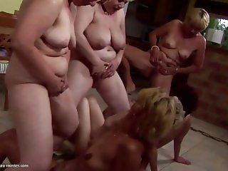 Insane private party with mature moms and sons