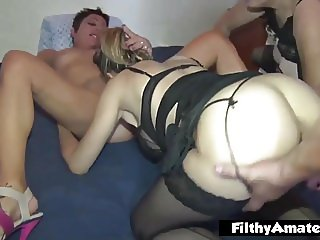 Orgy with 3 mature whores! Anal and Spittle!