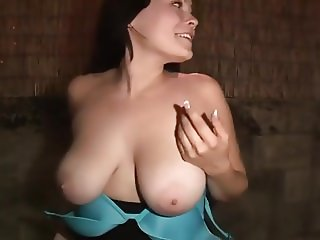Natural Big Breasts Amateur show in the street