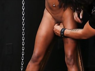 Caged ebony slave Harmonys candle wax punishment and black