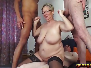 Threesome with lustful German Granny