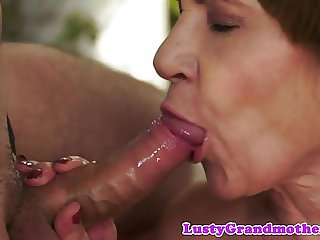 Cocksucking granny banged from behind