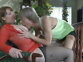 Boy fucked mature chubby in stockings