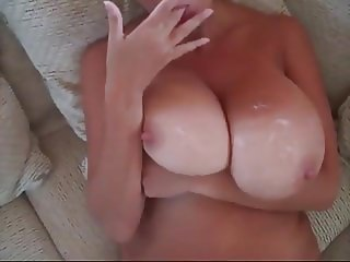 Cum over natural tits