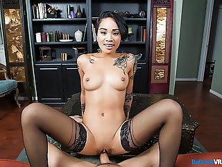 BaDoinkVR Inked Asian Teen Babe Honey Gold Needs Your Cock