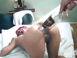 Extreme anal fisting and whiskey bottle fuck