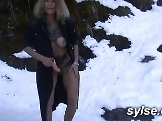 Dildo in moutain before strapon with a new girlfriend