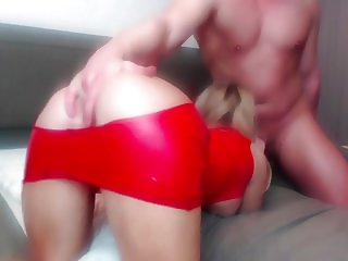 Blonde Teen in Latex Suit blowjob + massive pussy creampie