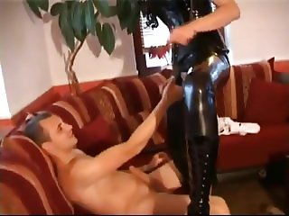 German Slut In Black Latex Fucked