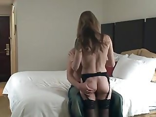 Cuck lets young bull have his wife before joining
