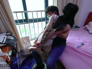 Chinese Girl duct tape bondage