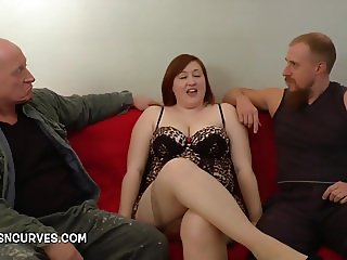 Two men needed to satisfy this woman