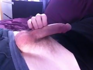 Shooting a big load from my thick cock