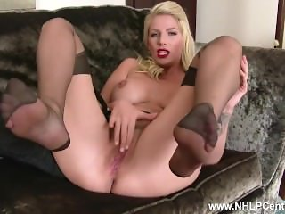 Busty blonde slut Danielle Maye strips off lingerie and wanks in RHT nylons