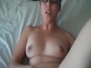 Babe with glasses has a creampie orgasm