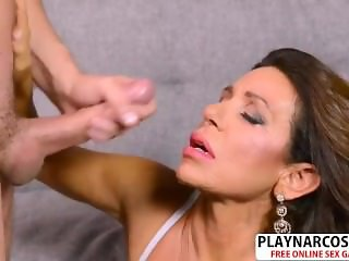 Curvy Stepmom Layla La Mora Gives Blowjob Sweet Teen Son's Friend