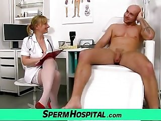 A boy receives HJ from dirty MILF Gabina