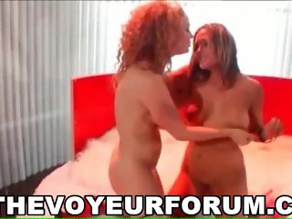 Sexy ginger lesbian babe getting her pussy licked and toyed