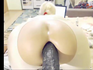 Blonde Shemale Gaping With Big Dildo & Queefing Ass Hole